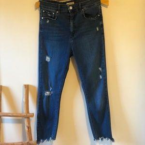 Zara Woman High Waisted Blue Jeans